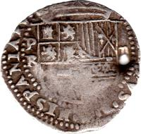 obverse of 2 Reales - Felipe III - Colonial Cob Coinage (1596 - 1621) coin with KM# 8 from Bolivia. Inscription: PHILIPPVS III D. G:HISPANIARVM