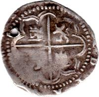 reverse of 2 Reales - Felipe III - Colonial Cob Coinage (1596 - 1621) coin with KM# 8 from Bolivia.