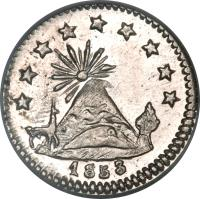 reverse of 1/4 Sol (1853) coin with KM# 117 from Bolivia. Inscription: 1853