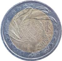 obverse of 2 Euro - World Food Program (2004) coin with KM# 237 from Italy. Inscription: WORLD FOOD PROGRAMME RI R UP 2004