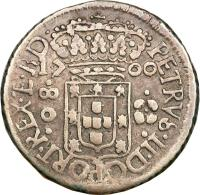 obverse of 80 Réis - Pedro II (1699 - 1701) coin with KM# 87 from Brazil.