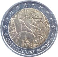 obverse of 2 Euro - European Constitution (2005) coin with KM# 245 from Italy. Inscription: COSTITUZIONE EUROPEA RI 2005 R MCC