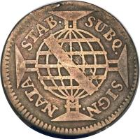 reverse of 160 Réis - José I (1751 - 1758) coin with KM# 168 from Brazil. Inscription: STAB. SUBQ. SIGN. NATA