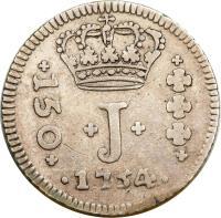obverse of 150 Réis - Jose I (1752 - 1758) coin with KM# 177 from Brazil. Inscription: +150+ + J + · 1754 ·