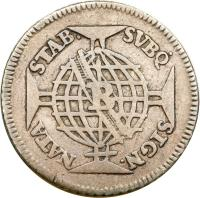 reverse of 150 Réis - Jose I (1752 - 1758) coin with KM# 177 from Brazil. Inscription: STAB. SVBQ SIGN. NATA