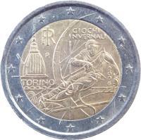 obverse of 2 Euro - Torino Olympics (2006) coin with KM# 246 from Italy. Inscription: GIOCHI INVERNALI TORINO 2006 RI R M.C.C.