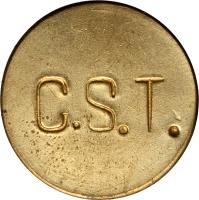 reverse of 100 Réis - Colonia Santa Teresa; Leprosarium Coinage (1940) coin with KM# L1 from Brazil. Inscription: C.S.T.