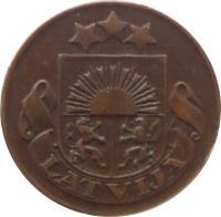 obverse of 1 Santims (1922 - 1935) coin with KM# 1 from Latvia. Inscription: LATVIJA