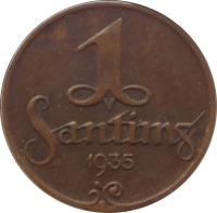 reverse of 1 Santims (1922 - 1935) coin with KM# 1 from Latvia. Inscription: 1 SANTIMS 1935