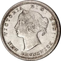 obverse of 5 Cents - Victoria (1862 - 1864) coin with KM# 7 from Canadian provinces. Inscription: VICTORIA D : G : REG : NEW BRUNSWICK ·