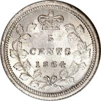 reverse of 5 Cents - Victoria (1862 - 1864) coin with KM# 7 from Canadian provinces. Inscription: 5 CENTS 1864
