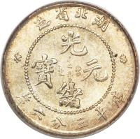 obverse of 3.6 Candareens - Guangxu (1895 - 1905) coin with Y# 123 from China. Inscription: 造省北湖     光    寶 元     緒 釐六錢三平庫