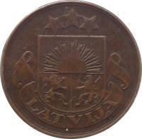 obverse of 5 Santimi (1922 - 1923) coin with KM# 3 from Latvia. Inscription: LATVIJA