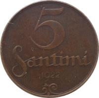 reverse of 5 Santimi (1922 - 1923) coin with KM# 3 from Latvia. Inscription: 5 SANTIMI