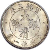 obverse of 1 Jiao - Xuantong (1910) coin with Y# 28 from China.