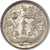 reverse of 1 Jiao - Xuantong (1910) coin with Y# 28 from China.