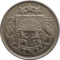 obverse of 10 Santimu (1922) coin with KM# 4 from Latvia. Inscription: 1922 LATVIJA