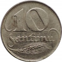 reverse of 10 Santimu (1922) coin with KM# 4 from Latvia. Inscription: 10 SANTIMU