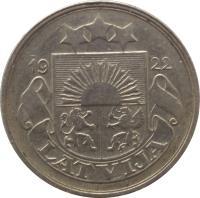 obverse of 20 Santimu (1922) coin with KM# 5 from Latvia. Inscription: 1922 LATVIJA