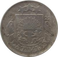 obverse of 50 Santimu (1922) coin with KM# 6 from Latvia. Inscription: 1922 LATVIJA