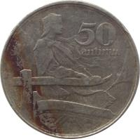 reverse of 50 Santimu (1922) coin with KM# 6 from Latvia. Inscription: 50 SANTIMU