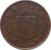 obverse of 2 Santimi (1937 - 1939) coin with KM# 11 from Latvia. Inscription: LATVIJA