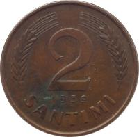 reverse of 2 Santimi (1937 - 1939) coin with KM# 11 from Latvia. Inscription: 2 SANTIMI 1939