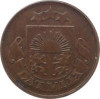 obverse of 2 Santimi (1922 - 1932) coin with KM# 2 from Latvia. Inscription: LATVIJA