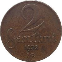 reverse of 2 Santimi (1922 - 1932) coin with KM# 2 from Latvia. Inscription: 2 SANTIMI 1932