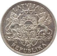 obverse of 1 Lats (1923 - 1924) coin with KM# 7 from Latvia. Inscription: LATVIJAS REPUBLIKA