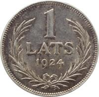 reverse of 1 Lats (1923 - 1924) coin with KM# 7 from Latvia. Inscription: 1 LATS 1924
