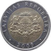 obverse of 2 Lati (1999 - 2009) coin with KM# 38 from Latvia. Inscription: LATVIJAS REPUBLIKA · 2009 ·