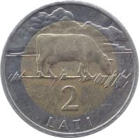 reverse of 2 Lati (1999 - 2009) coin with KM# 38 from Latvia. Inscription: 2 LATI