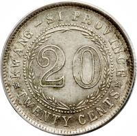 China 1936-1939 20 Cents Y#350