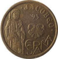 obverse of 5 Pesetas - Juan Carlos I - Jacobeo (1993) coin with KM# 919 from Spain. Inscription: JACOBEO ESPAÑA '93