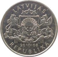 obverse of 1 Lats - Waterlily (2008) coin with KM# 92 from Latvia. Inscription: LATVIJAS 20 08 REPUBLIKA