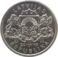 obverse of 1 Lats - Toad (2010) coin with KM# 108 from Latvia. Inscription: LATVIJAS 20 10 REPUBLIKA