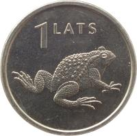 reverse of 1 Lats - Toad (2010) coin with KM# 108 from Latvia. Inscription: 1 LATS
