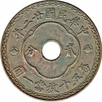 obverse of 2 Cents (1933) coin with Y# 325a from China.