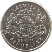 obverse of 1 Lats - Beer mug (2011) coin with KM# 119 from Latvia. Inscription: LATVIJAS 20 11 REPUBLIKA