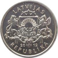obverse of 1 Lats - Hedgehog (2012) coin with KM# 135 from Latvia. Inscription: LATVIJAS 20 12 REPUBLIKA