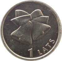 reverse of 1 Lats - Christmas bells (2012) coin with KM# 136 from Latvia. Inscription: 1 LATS