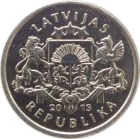 obverse of 1 Lats - Kokle (2013) coin with KM# 142 from Latvia. Inscription: LATVIJAS 20 13 REPUBLIKA