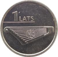 reverse of 1 Lats - Kokle (2013) coin with KM# 142 from Latvia. Inscription: 1 LATS