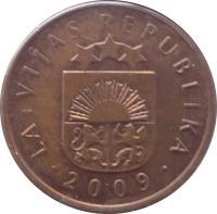 obverse of 2 Santimi (1992 - 2009) coin with KM# 21 from Latvia. Inscription: LATVIJAS REPUBLIKA · 2009 ·