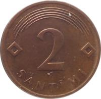 reverse of 2 Santimi (1992 - 2009) coin with KM# 21 from Latvia. Inscription: 2 SANTIMI