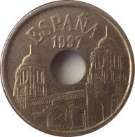 obverse of 25 Pesetas - Juan Carlos I - Melilla (1997) coin with KM# 983 from Spain. Inscription: ESPAÑA 1997