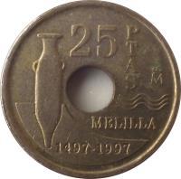 reverse of 25 Pesetas - Juan Carlos I - Melilla (1997) coin with KM# 983 from Spain. Inscription: 25 PTAS MELILLA 1497-1997
