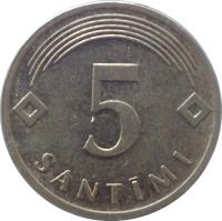 reverse of 5 Santimi (1992 - 2009) coin with KM# 16 from Latvia. Inscription: 5 SANTIMI