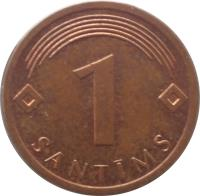 reverse of 1 Santims (1992 - 2008) coin with KM# 15 from Latvia. Inscription: 1 SANTIMS